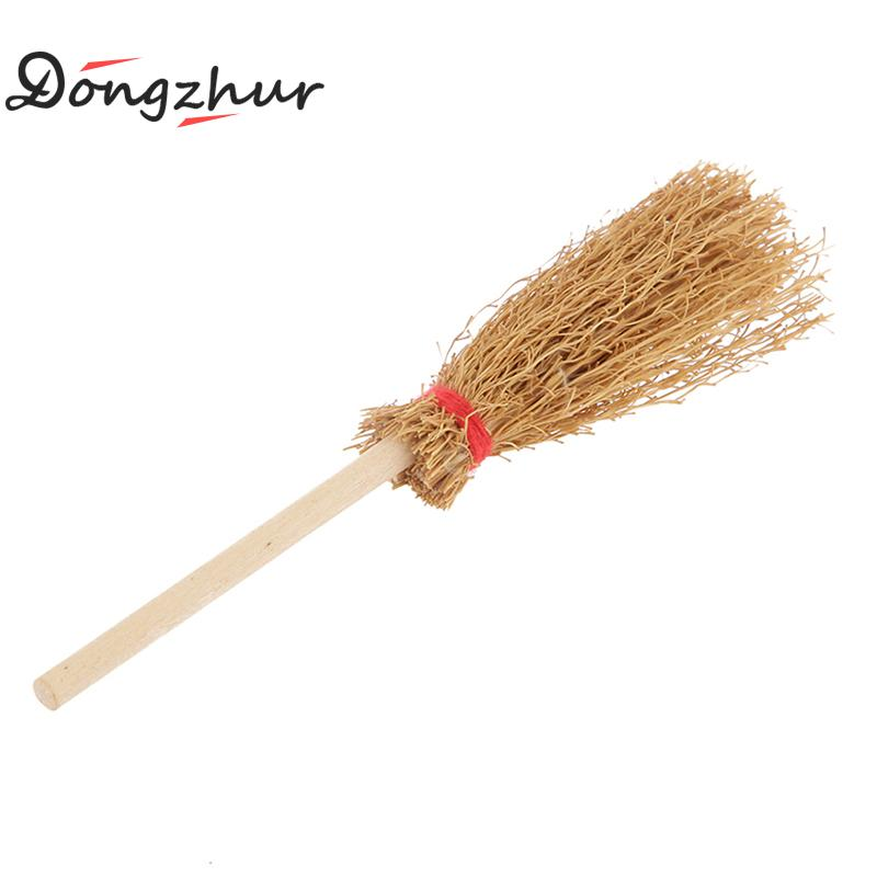 US $1 46 39% OFF|Dongzhur New 1:12 Dollhouse Miniature Wooden Broom Wicca  Witch Kitchen Garden Miniature Doll House Accessory Kit WJ1384-in Doll