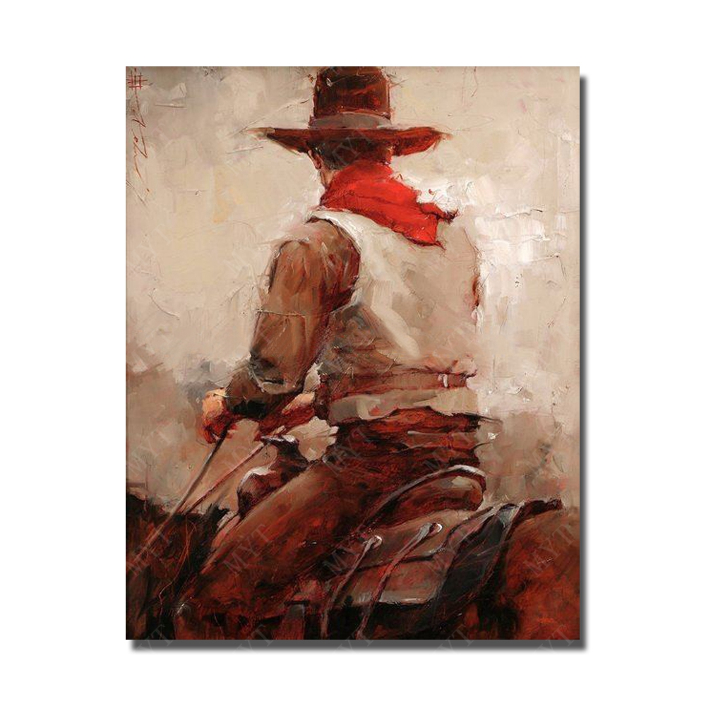 Chinese artists hand painted modern figure wall art paintings west cowboy riding horse picture classical