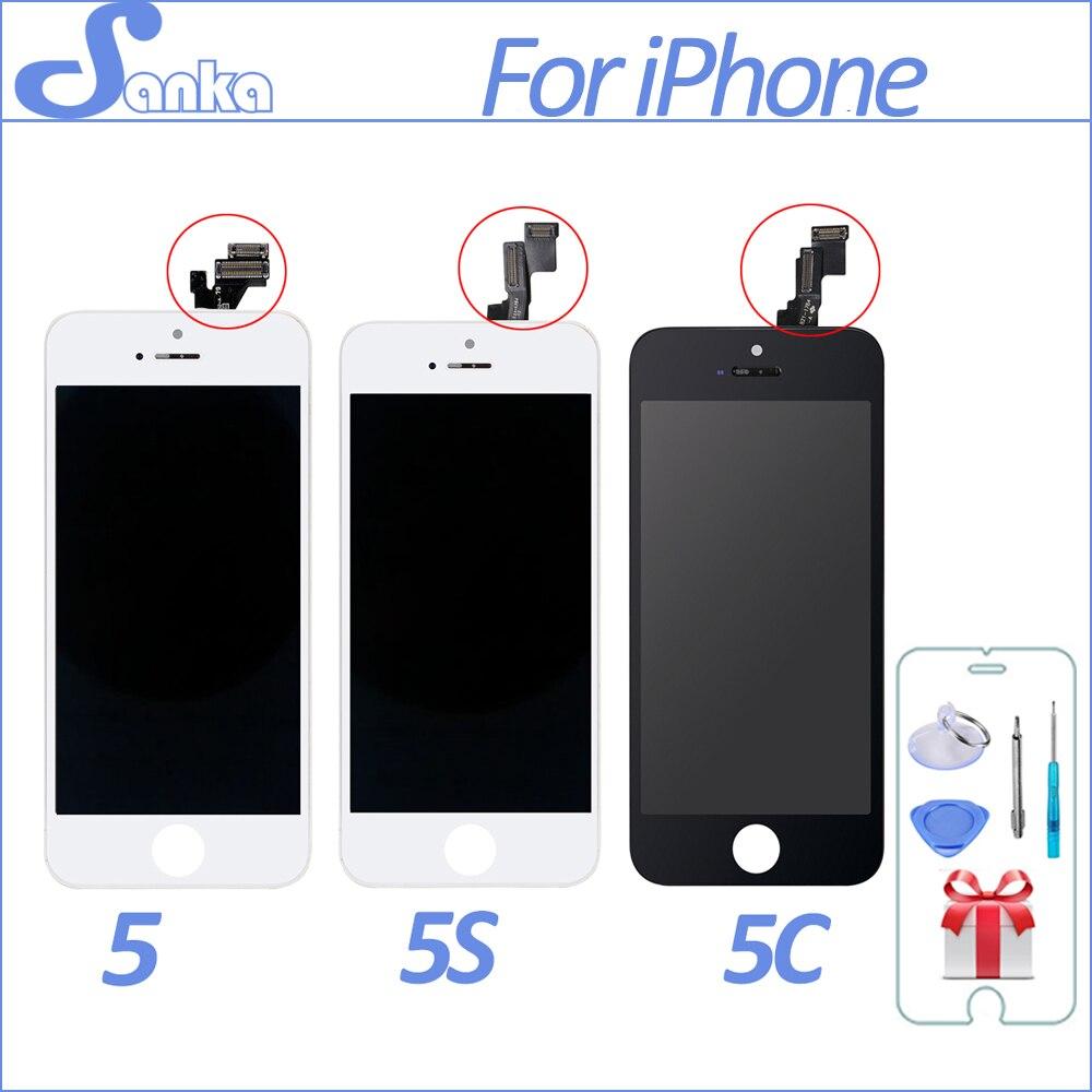 SANKA AAA 5S 5C Display LCD de Tela Para Apple iPhone 5 Montagem da Tela de toque Com Digitador de Vidro Peças de Telefone de Pixel Não Morto