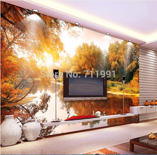 Custom Papel de parede wallpaper for the living room sofa backdrop wall paper of vinyl wallpaper forest in Swan Lake custom photo wallpaper papel de parede forest scenery for the sitting room sofa setting wall vinyl bedroom which wallpaper