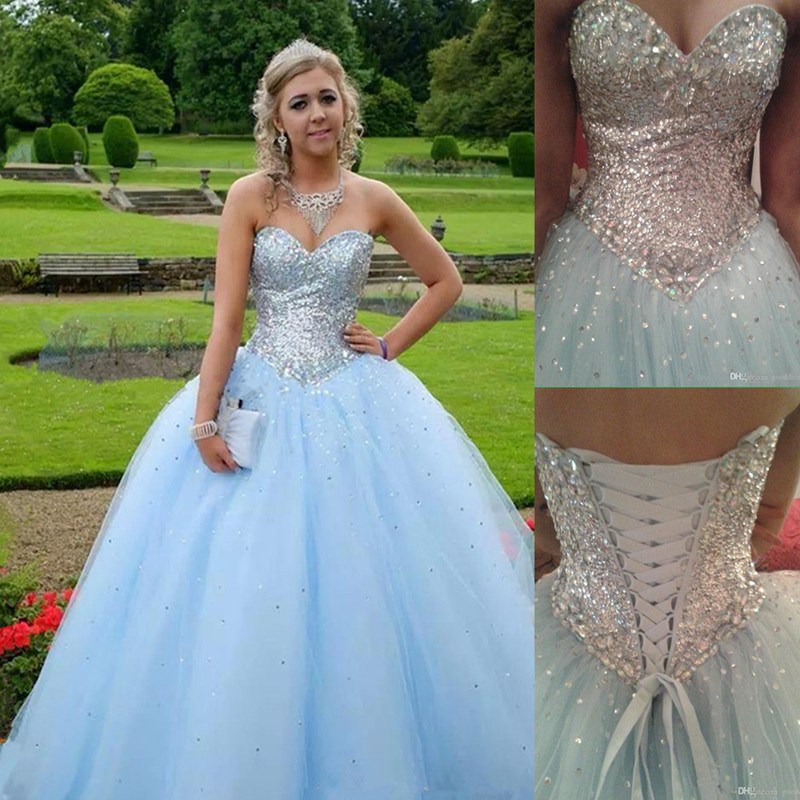 Sequins and Crystals 2016 Baby Blue Cheap Quinceanera Dresses Sweet 15  Dresses Vestidos Debutantes 15 Anos Sweet 16 Ball Gowns 2deed854e9b3