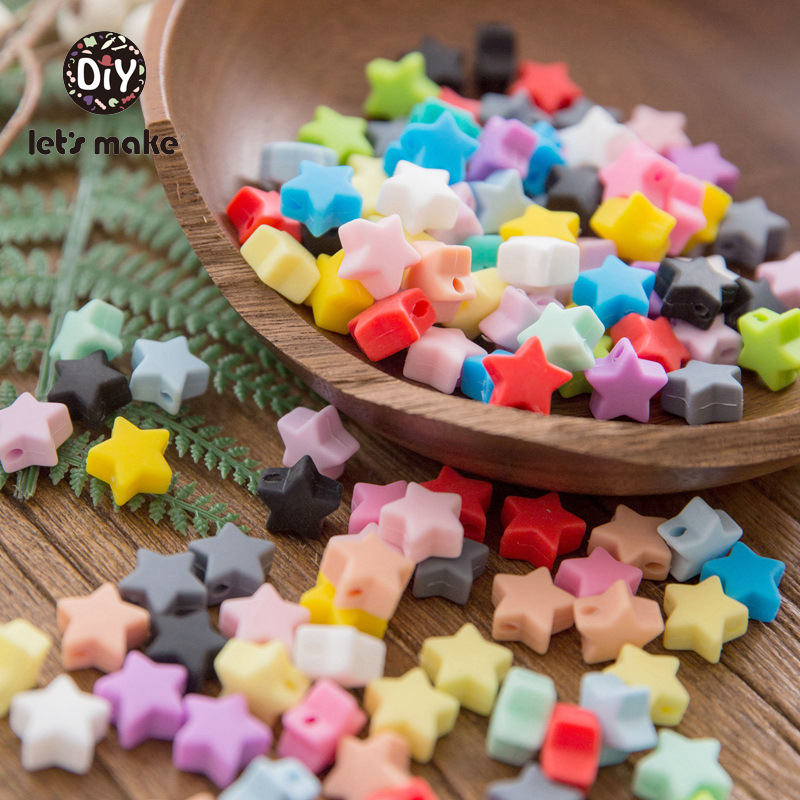 Let's Make Baby Teether 20pc Silicone Beads Star Teething Food Grade BPA Free Chewable Silicone Beads Nursing Baby Teether