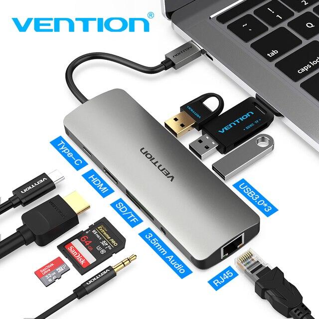 Ventie Thunderbolt 3 Dock USB Hub Type C naar HDMI USB3.0 RJ45 Adapter voor MacBook Samsung Dex S8/S9 huawei P30 Pro usb c Adapter