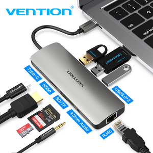 Image 1 - Vention Thunderbolt 3 Dock USB Hub Type C to HDMI USB3.0 RJ45 Adapter for MacBook Samsung Dex S8/S9 Huawei P30 Pro usb c Adapter