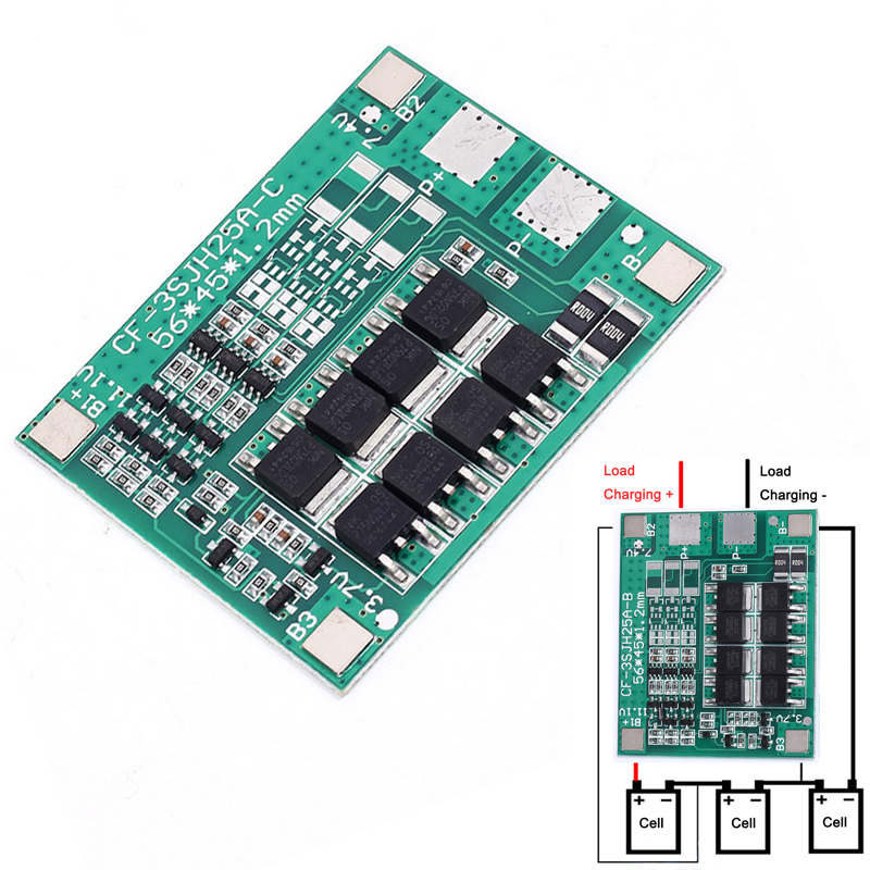 30A <font><b>3S</b></font> Polymer Lithium <font><b>Battery</b></font> 18650 Charger PCB BMS Protection Board 3 Serial 12V 3.7 <font><b>Lipo</b></font> Li-ion Charging Protection Module