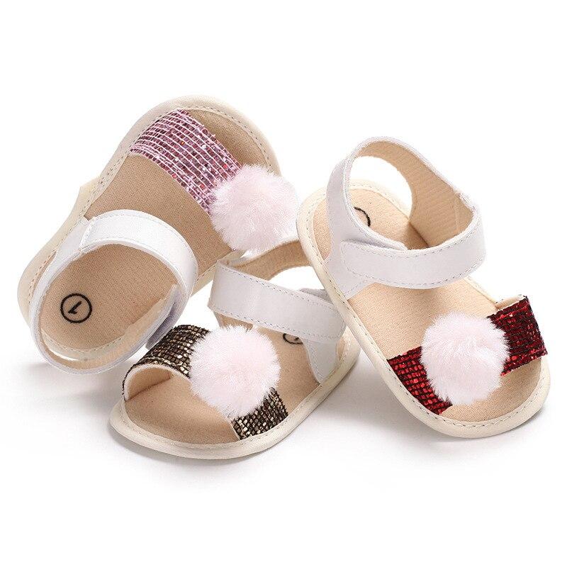 Baby Girl Sandals Shoes Sequins Cute Plush Ball Summer Toddler Girl Shoes Infant Sandals sandalia infantil