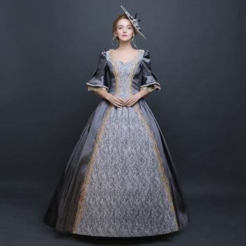 cc9a1f5fe21877d Пользовательские 2018 ретро Половина рукава Серый Marie Antoinette Бальные  платья Вечерние платья Civil War маскарадные платья для дам