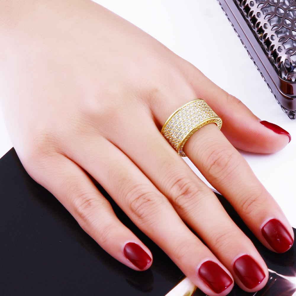 2018 Circle ring cz Finger Rings Gold /White Color micro pave Cubic ...