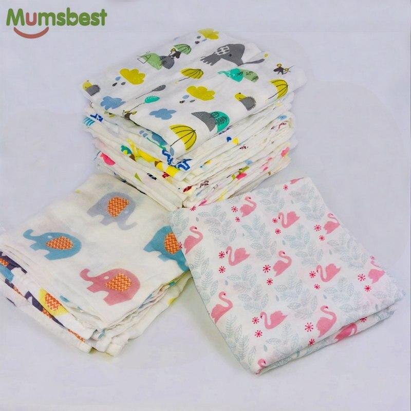[Mumsbest] Muslin Baby Swaddling 100%Cotton Newborn Infant Blanket Baby Swaddles Gauze Bath Towel Newborns Receiving Blankets