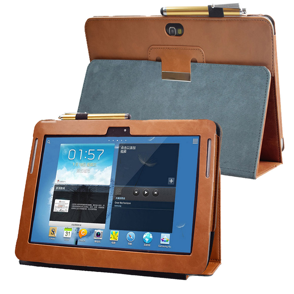 Advanced Pu Leather Stand Cover Case For Samsung Galaxy Note 10.1 GT N8000 Tablet N8010 N8013 N8020 Folio Flip Book Case Pocket