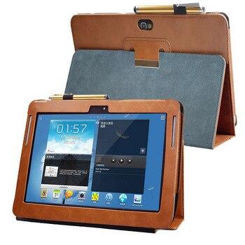 Avanzada pu funda de soporte de cuero funda para Samsung Galaxy Nota 10,1 GT N8000 tablet N8010 N8013 N8020 Folio funda de libro con tapa bolsillo