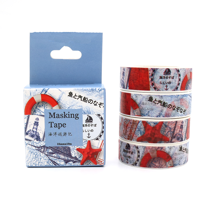 Box Package Cruise Ocean Washi Tape Masking Tape Decorative Scrapbooking Office Adhesive DIY Sticker Label Tape 10m*15mm ...