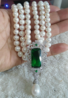 Fashion new triple strands 8 9mm south sea white round pearl necklace+pendant 171819