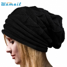Womail Good Deal  New Fashion Women Winter Crochet Hat Black Wool Knit Beanie Warm Caps Gift 1PC
