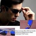 Aluminum Magnesium Men Sunglasses Luxury Brand Polaroid Eyeglasses Oculos de Sol Masculino Spring Hinge Inside Blue Mirror Lens