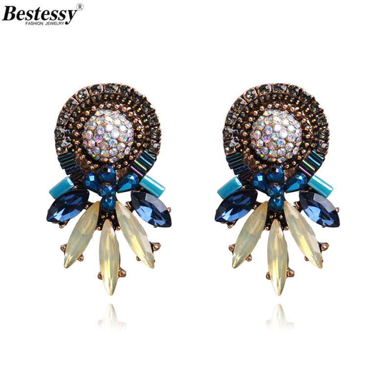 Bestessy New Fashion Statement Jewelry Big Stud Earrings For Women Wedding Bohemian Female Hot Sale Boho Earring Oorbellen in Stud Earrings from Jewelry Accessories