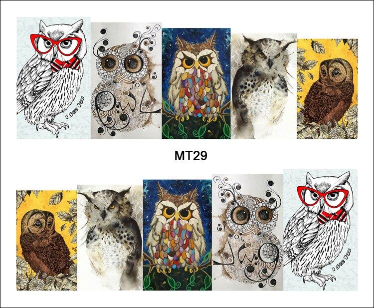 Nails Art & Tools Yzwle 1 Sheet Owl On Tree Cartoon Cute Nail Art Water Transfer Sticker Decal For Nail Art Tattoo Diy Nail Tool