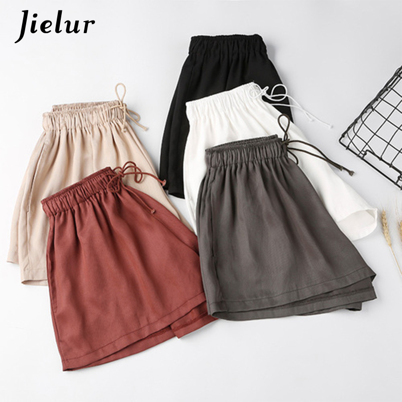 Jielur Summer Elastic High Waist Wide Leg Shorts Women Solid Color Casual Loose Cool Short Korean Drawstring Pantalon Corto