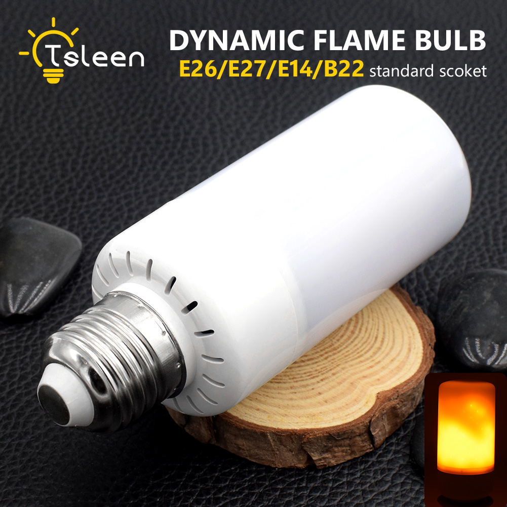 TSLEEN 4Pc 5W 3528 SMD LED Lamp Bulb E27 B22 E14 E26 1800K Yellow Flickering Flame Fire LED Light Bulb Corn Light Bulb AC85-265V
