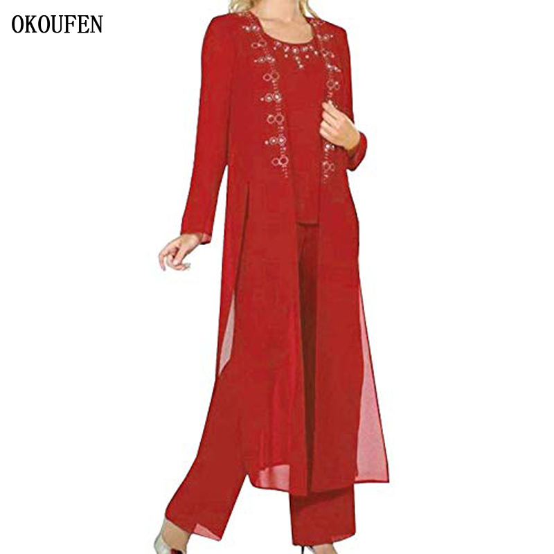 OKOUFEN Chiffon Mother Of The Bride Dresses For Wedding 2019 Pant Suit 3 Piece Set Long Jacket Beads Red Mother's Kurti Madrinha