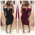 New Women Dress Summer 2016 Black Off the Shoulder Wholesale Bandage Dress White Red Apricot