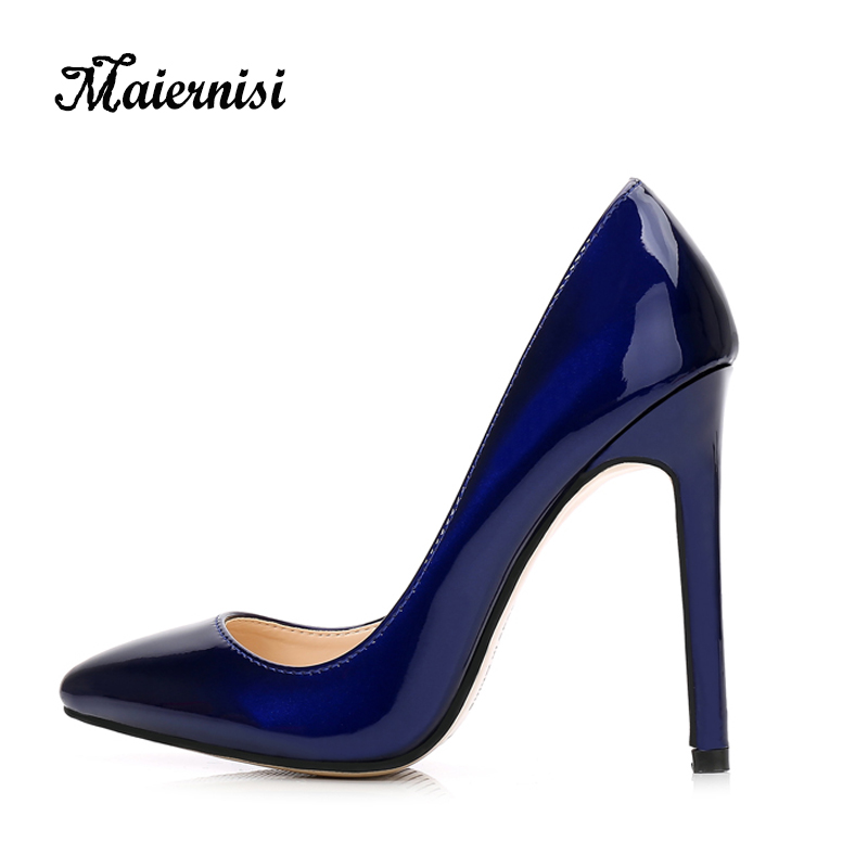Maiernisi New Trend Excessive Heels Girls Pumps Skinny Heel Traditional Horny Promenade Wedding ceremony Sneakers Workplace Girls Sneakers Large Measurement 35-46 Leather-based