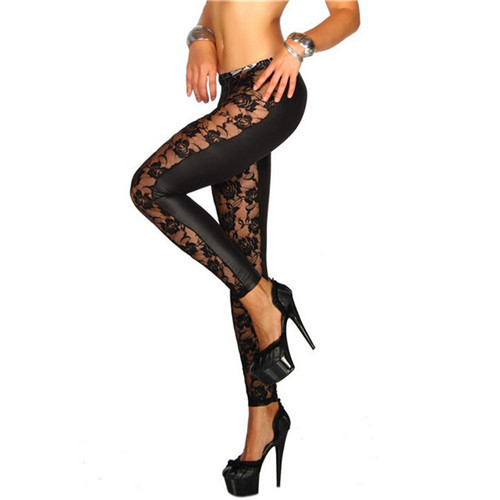 Femmes noir Rose dentelle florale Faux cuir Leggings pantalon Sexy filles Leggings cadeaux en gros 1 pièces