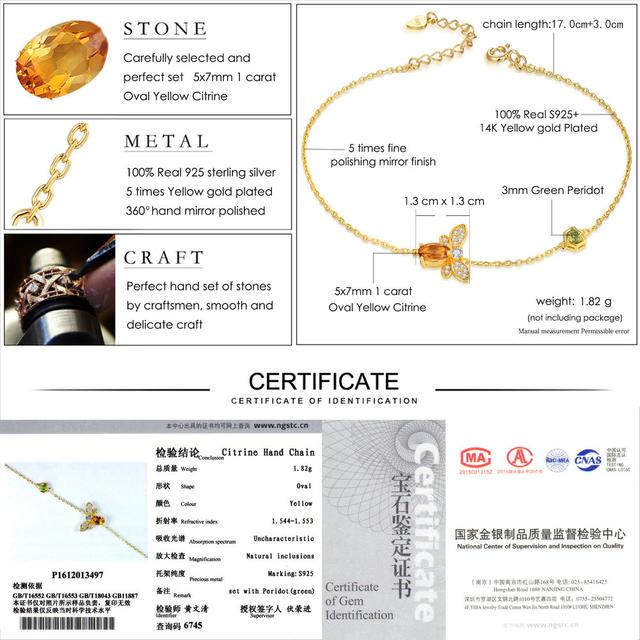 LAMOON Bee 5X7mm 100% Natural citrino Oval de Plata de Ley 925 de oro de la joyería-Cadena de color pulsera de encanto s925 LMHI002