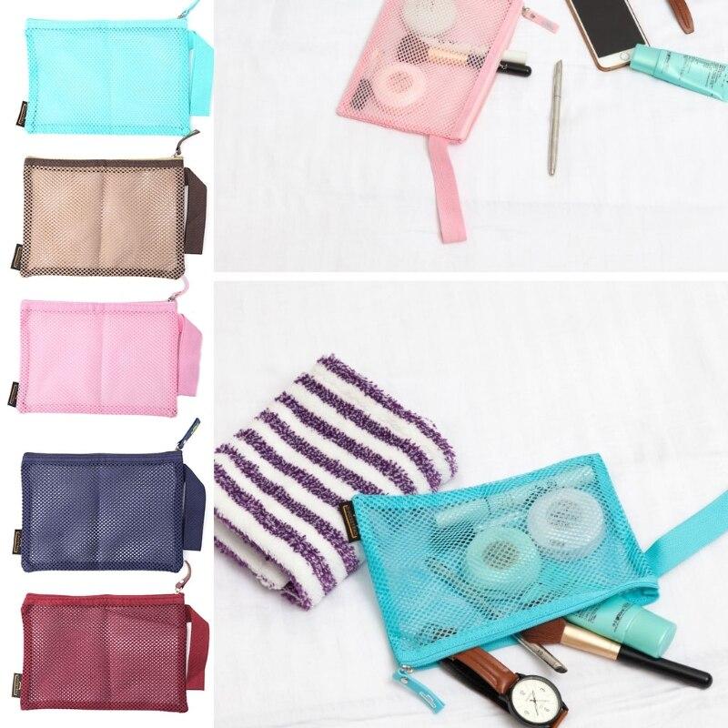 1 Pc Tragbare Frauen Nylon Mesh Make-up Fall Kosmetik Tasche Pouch Kultur Veranstalter Tasche FöRderung Der Produktion Von KöRperflüSsigkeit Und Speichel