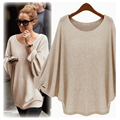 Awaytr Spring/Autumn Long Section Of Large Size Loose Sweater Round Neck Batwing Sleeve Thin Solid Thin Sweater Bottoming Shirt