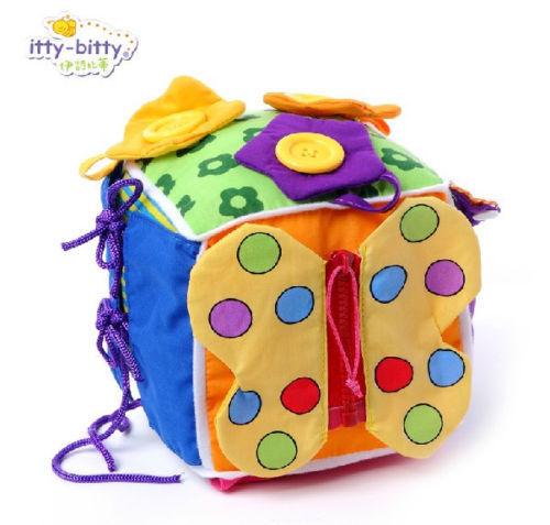 Rolig 1pc lala baby pacify kvadratratlar lär dig klädsel dragkedja söt tidig utveckling kognitiv spädbarn nyfödd presentleksak