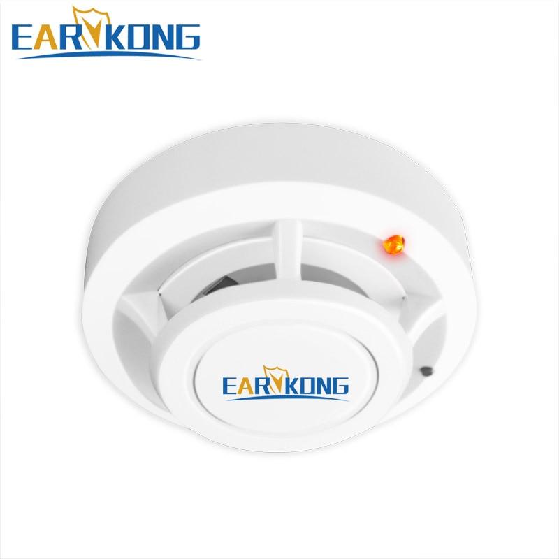 Détecteur de fumée de Protection contre l'incendie 433MHz détecteur de fumée de couleur blanche sans fil alarme incendie très sensible pour système d'alarme GSM/Wifi