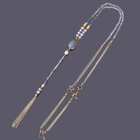 KELITCH Beads Necklace Jewelry stone necklace 1Pcs 2017 Newest Natural Pearl Gold Tassel Chain Sodalite For Women necklaces