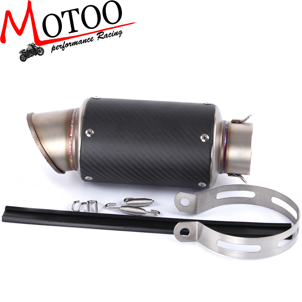Motoo - New Model High Quality 61mm Universal motorcycle Carbon Fiber Exhaust muffler for BMW S1000R S1000RR eosuns led drl daylights daytime running light with yellow turn signal fog lamp for ford mondeo 2010 12 wire module controller