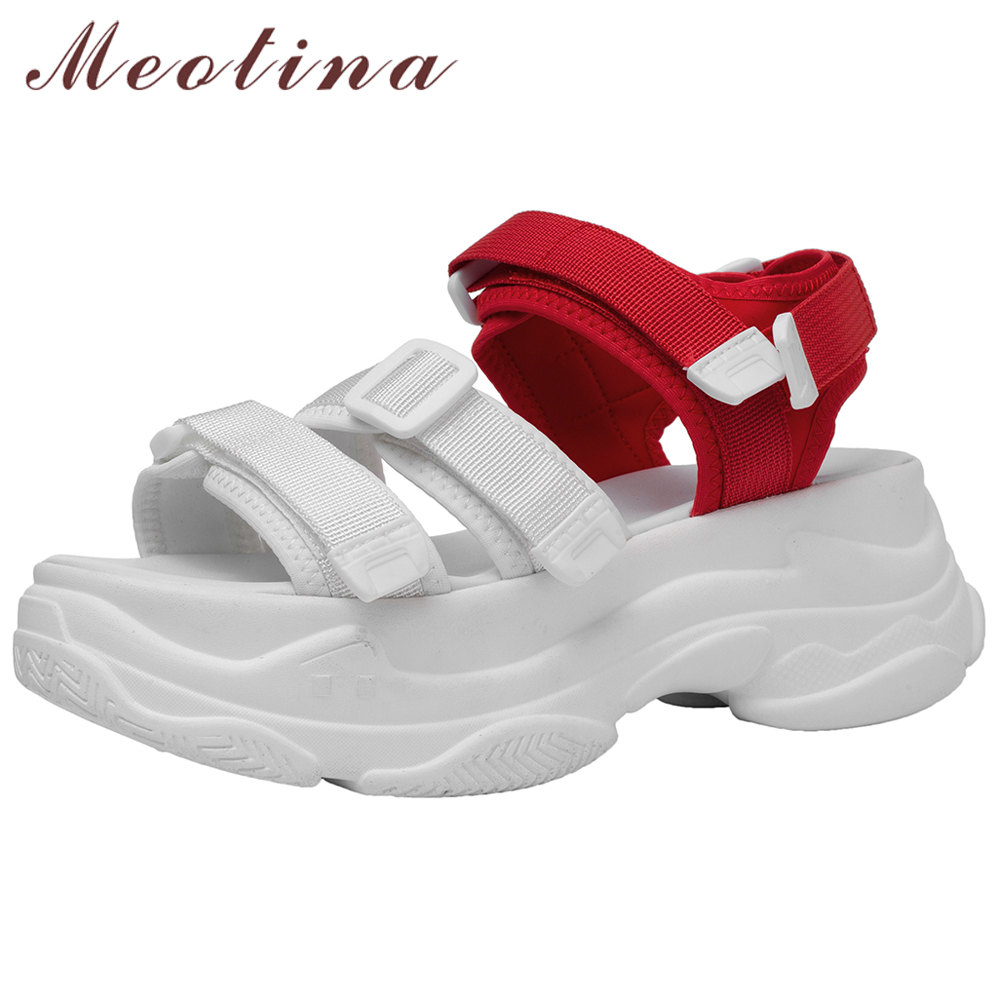 Meotina Summer Sandals Women Sneakers Shoes Mixed Colors Flat Platform Shoes Casual Open Toe Sandals Female White New Size 34-39Meotina Summer Sandals Women Sneakers Shoes Mixed Colors Flat Platform Shoes Casual Open Toe Sandals Female White New Size 34-39