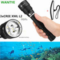 2016 LED Diving Flashlight 3 x CREE XM-L2 6000LM LED Flashlamp Torch 18650 3L2 Underwater  Waterproof LED Lighting