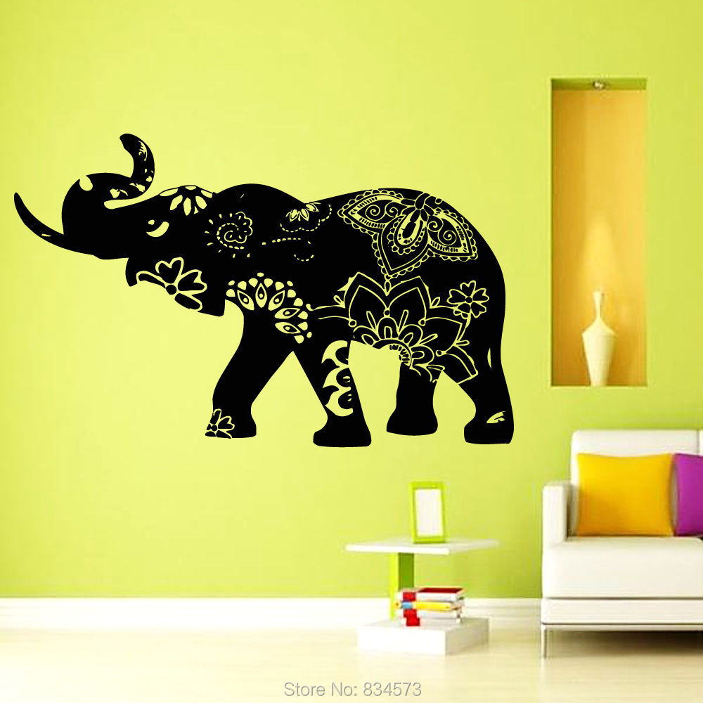 Elephant decal indian yoga wall art sticker decal home diy for Elephant wall mural