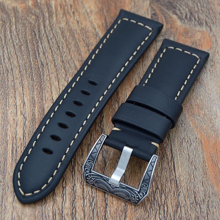 Handmade Watch Bracelet 24mm / 22mm Black Leather Watch Strap For Panerai With PVD carved Buckle Free shipping