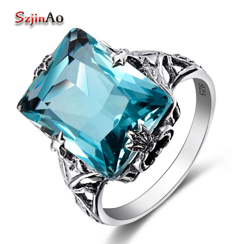 Szjinao 925 Sterling Silver Rings for Women Frog Shaped Blue Aquamarinel Vintage Ring Bohemia Style Wedding Jewelry Gifts