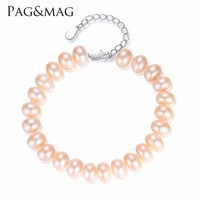 PAG&MAG brand Trendy Natural Pearl Bracelets Adjustable For Ladies Four Seasons Style Three Colors Are Available ,Send Free Box