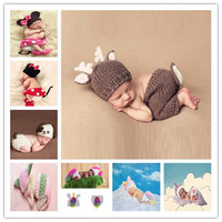Deer Set Design Newborn Baby Handmade Cartoon Costume Knitted Crochet Photography Props Newborn Photo Baby