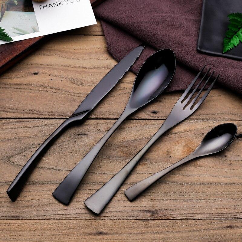 Черный Еда Класс покрытие Нержавеющаясталь сплошной ужин набор столовой Посуда Западной Еда Столовая посуда
