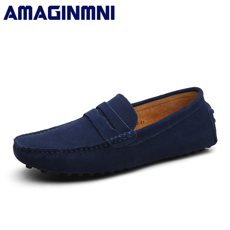 AMAGINMNI Fashion Summer Style Soft Moccasins Men Loafers High Quality Genuine Leather Shoes Men Flats Gommino Driving Shoes