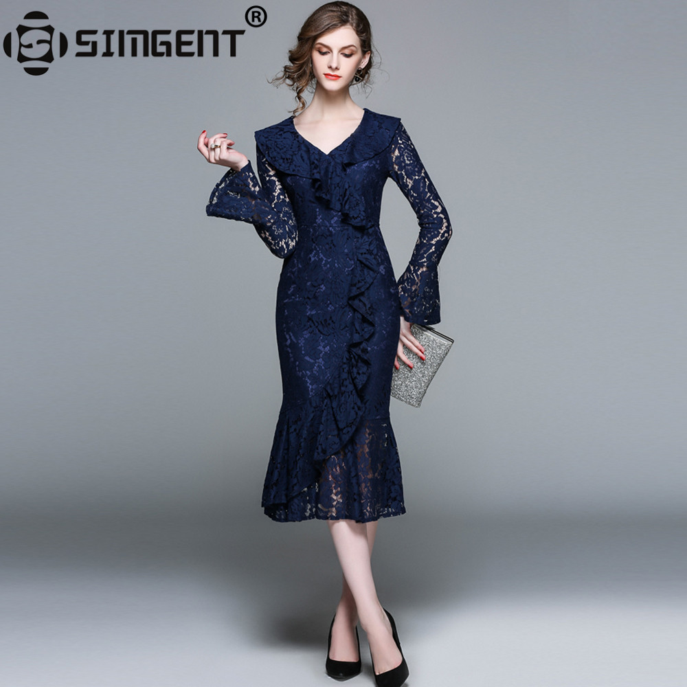 Simgent Women Elegant Office Work Party Slim V-Neck Flare Sleeve Ruffles Lace Hollow Out Midi Mermaid Dress Blue Vestido SG8394