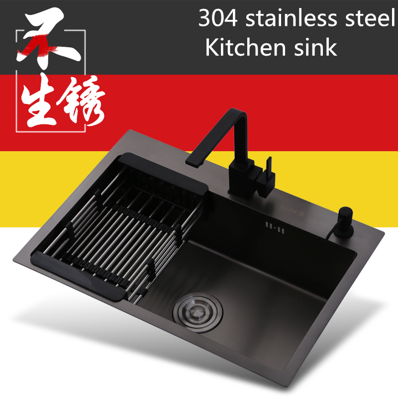 Multifunctional Nano Kitchen Sink Deck Mounted  Home Black 304 Stainless Steel Brushed  Drawing Drainer Kitchen Sink Undermount