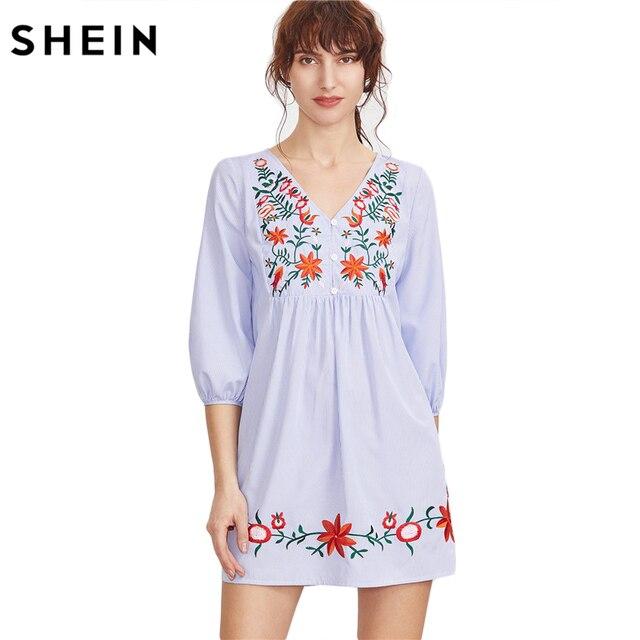 Шеин вышивкой синий в полоску спереди Фонари рукавом Boho платье V Средства  ухода за кожей Шеи 91989cfbc150c