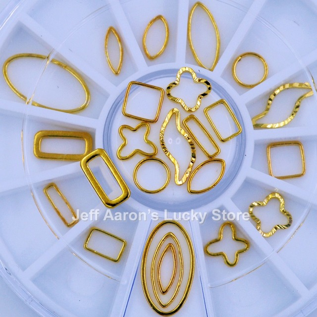 12 mixed shapes 3d gold metal nail art decorations circular frame ...