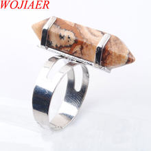 WOJIAER Unique Ring for Women Natural Stone Round Beads Casual Finger Rings Picture Jasper Silver Color Party Jewelry 1P PX3016(China)