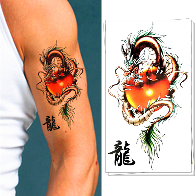 M Theory Red Dragon Ball Temporary Tattoos Body Art Flash Tatoos