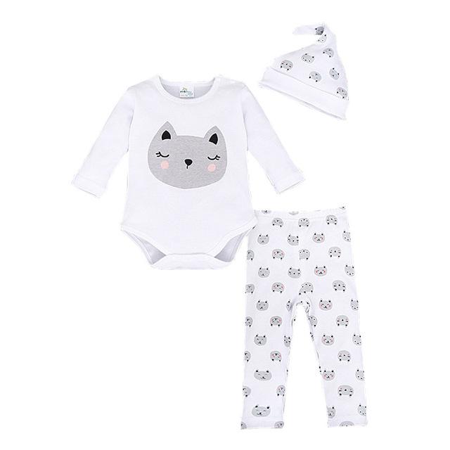 Bebê infantil Conjunto de Roupas de Marca de Moda Roupas Para Bebês Recém-nascidos Bodysuits Terno de Algodão de Manga Comprida + Chapéu + Calças 3 pcs Ternos Bebes